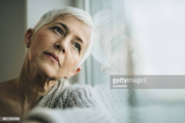 pensive mature woman day dreaming by the window. - introspection stock pictures, royalty-free photos & images