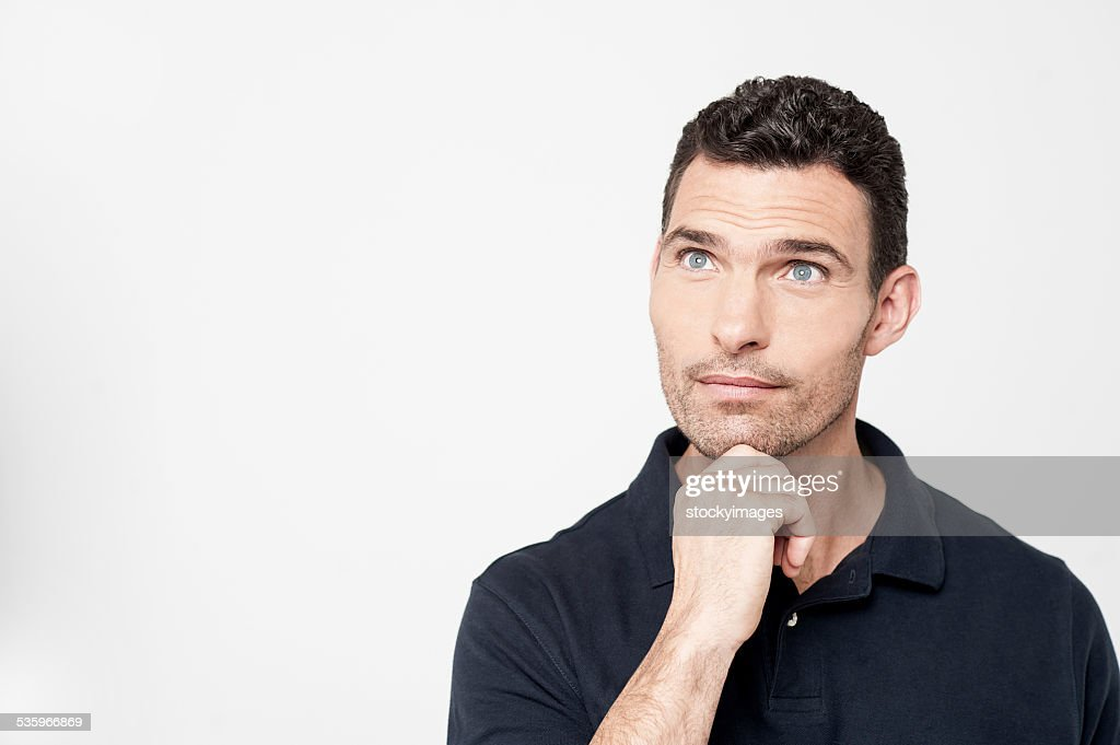 Pensive middle aged man : Stock Photo