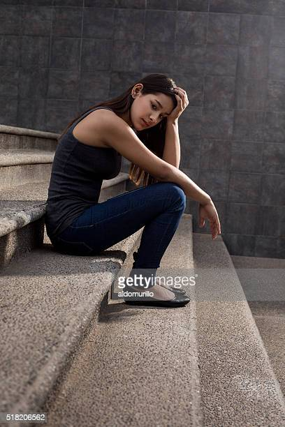 pensive teenage girl - beautiful mexican girls stock photos and pictures