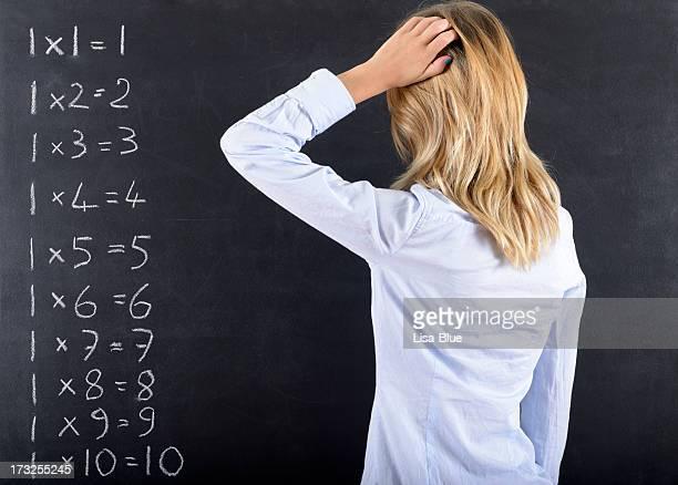 Nachdenklich Frau und Calculus