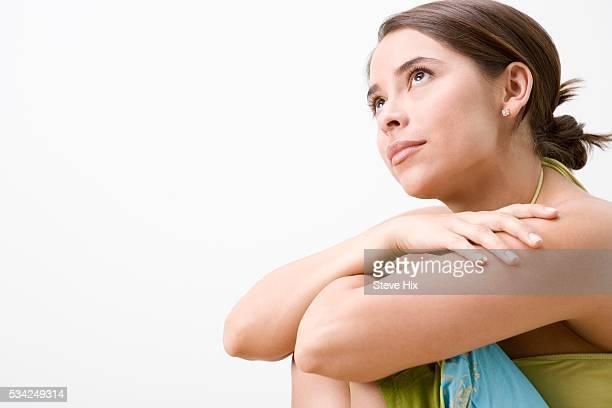 pensive woman - ドロストパンツ ストックフォトと画像
