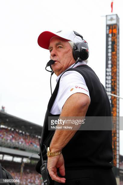 Penske Racing team owner Roger Penske looks on during the IZOD IndyCar Series 97th running of the Indianpolis 500 mile race at the Indianapolis Motor...