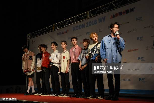 Pentagon a popular Korean band walk on the red carpet at a convention called Kcon that brings together some of the most popular pop bands from Korea...