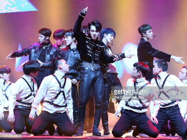 Pentagon performs during the showcase event for Pentagon's new album 'UNIVERSE : THE BLACK HALL' release at Yes24 Live Hall on February 12, 2020 in...