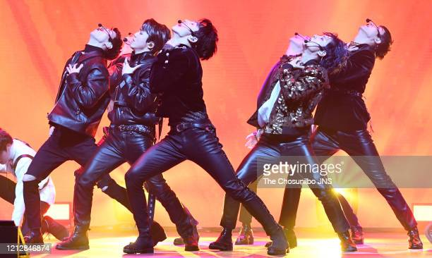 Pentagon performs during the showcase event for Pentagon's new album 'UNIVERSE THE BLACK HALL' release at Yes24 Live Hall on February 12 2020 in...