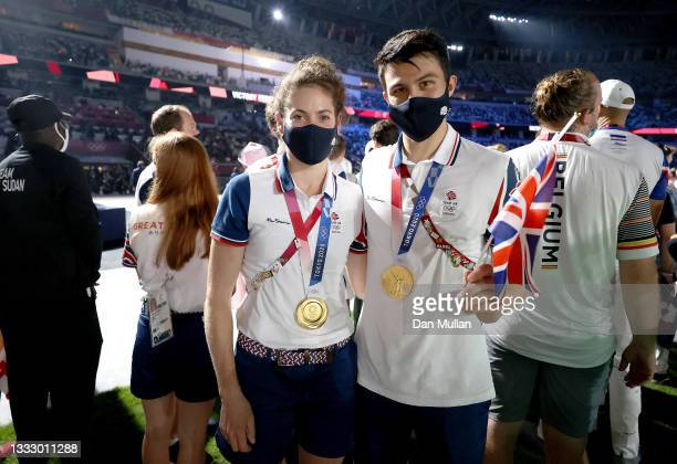Pentathletes Kate French and Joseph Choong of Team Great Britain during the Closing Ceremony of the Tokyo 2020 Olympic Games at Olympic Stadium on...