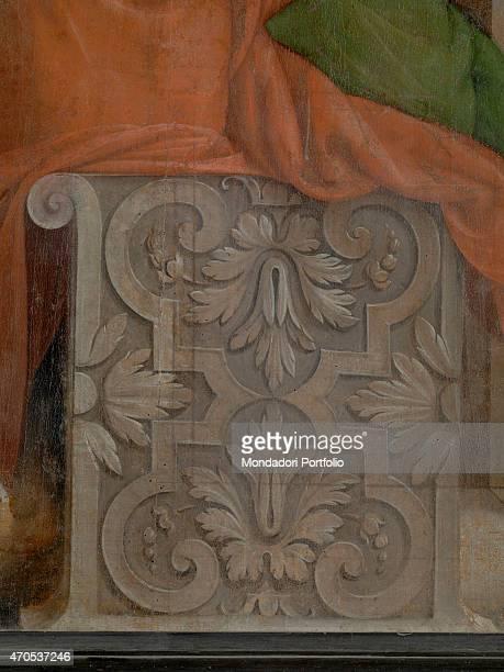 'Pentecost by Bramantino 16th Century oil on panel 207 x 147 cm Italy Lombardy Somma Lombardo Mezzana Church of Santo Stefano Detail A grey block of...