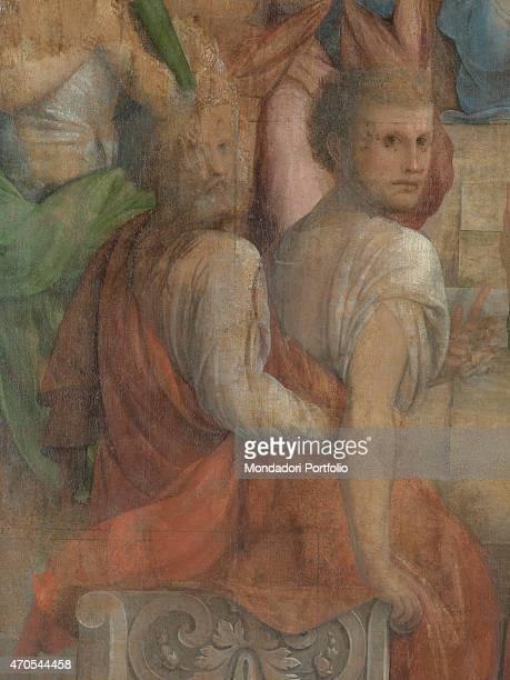 'Pentecost by Bramantino 16th Century oil on panel 207 x 147 cm Italy Lombardy Somma Lombardo Mezzana Church of Santo Stefano Detail Two Apostles...