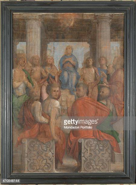 Pentecost by Bramantino 16th Century oil on panel 207 x 147 cm Italy Lombardy Somma Lombardo Mezzana Church of Santo Stefano Whole artwork view The...