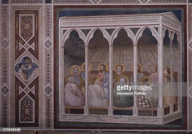 Pentecost by Giotto 13031305 14th Century fresco Italy Veneto Padua Scrovegni Chapel After restoration picture Whole artwork view The eleven Apostles...