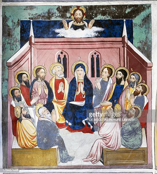 Pentecost Life of Christ frescoes Chapel of St Sebastian VillarddeLans RhoneAlpes France
