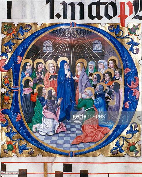 Pentecost Miniature of choirbook 15th16th century Arxive of OsmaBurgos Castile and Leon Spain