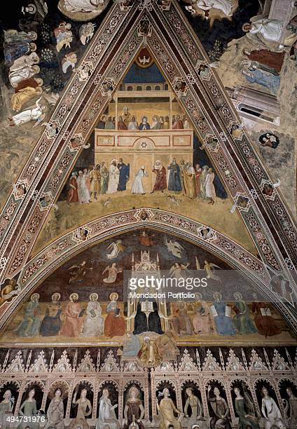 Pentecost Rib Vault by Andrea di Bonaiuto 13651367 14th Century fresco Italy Tuscany Florence Church of Santa Maria Novella Whole artwork view The...