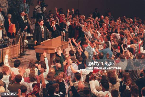 Pentecostal revival at the Brownsville Assembly of God. Evagelist Steve Hill and Pastor John Kilpatrick in front of worshippers at the Brownsville...
