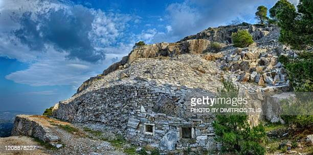 penteli's old marble quarries - dimitrios tilis stock pictures, royalty-free photos & images