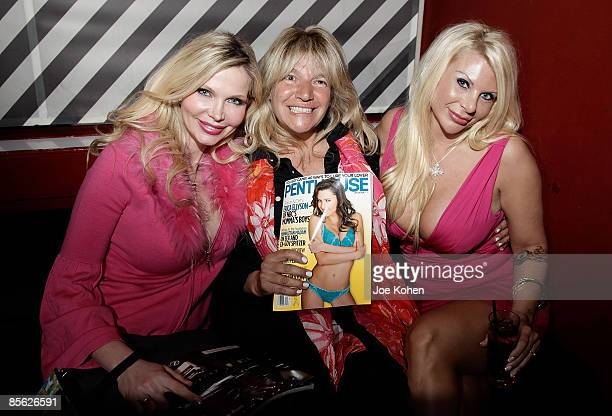 Penthouse columist Dr Victoria Zdrok television personality Robin Byrd and madam Kristin Davis attend The Manhattan Madam book release party at Cain...