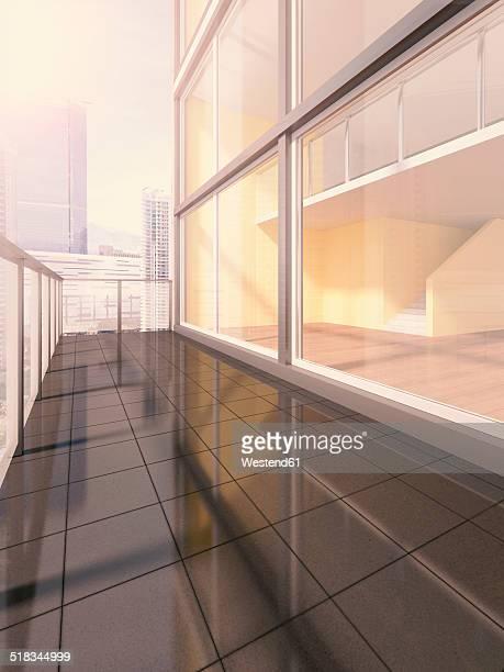Penthouse, exterior view, 3D rendering