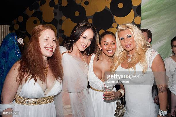 Penthouse Magazine Lainie Speiser Ryan Keely Anju McIntyre and Kristin Davis attend Ryan Keely's birthday party at La Pomme on July 2 2010 in New...
