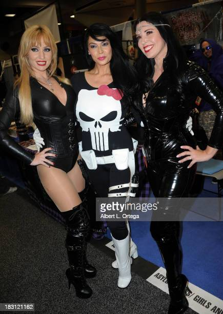 Penthouse Pet Angela Sommers adult film star Tera Patrick and model Anastasia Pierce attend Day 2 of the 2013 ComicCon International General...