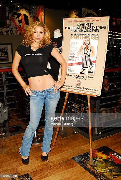 Penthouse Pet Of The Year Heather Vandeven makes an instore appearance at the Hollywood Boulevard Virgin Megastore on February 15 2007 in Hollywood...