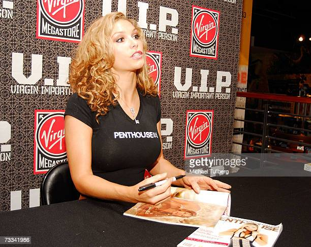Penthouse Pet Of The Year Heather Vandeven signs autographs at an instore appearance at the Hollywood Boulevard Virgin Megastore on February 15 2007...