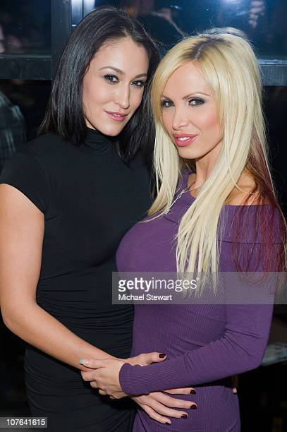 Penthouse Pet Ryan Keely and Penthouse Pet of the year 2010 Nikki Benz attend Nikki Benz's birthday party at Sky Room on December 16 2010 in New York...
