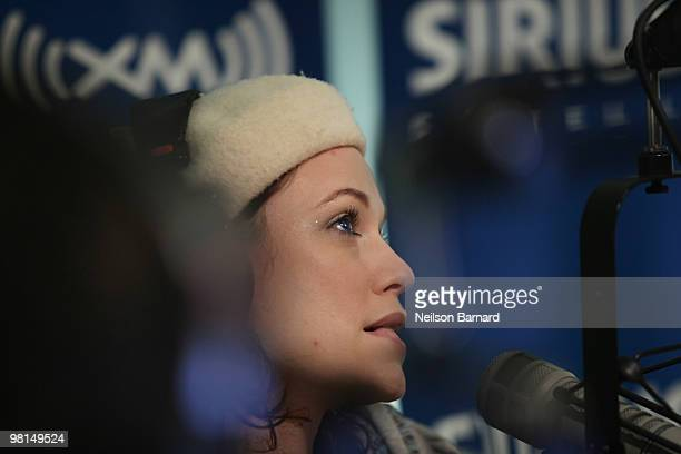 Penthouse Playmate and adult film star Justine Joli visits SIRIUS XM Studio on March 30 2010 in New York City
