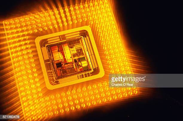 Pentium Chip in Glowing Yellow Light