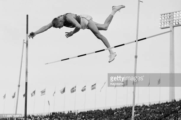 Pentti Nikula of Finland competes in the Men's pole vault competition on 17th October 1964 during the XVIII Summer Olympic Games at the National...