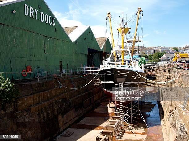 Penzance harbor dry dock, Cornwall, UK.