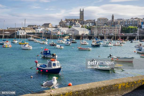 penzance harbour and town cornwall - penzance stock pictures, royalty-free photos & images