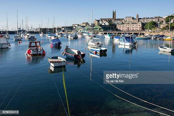 penzance harbour in an early morning - penzance stock pictures, royalty-free photos & images