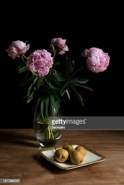 peonies and pears - still life stock pictures, royalty-free photos & images