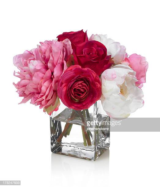 peony and rose bouquet on a white background - red roses stock photos and pictures