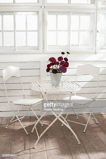 Peony flowers in vase on metallic table in glass house, Bavaria, Germany