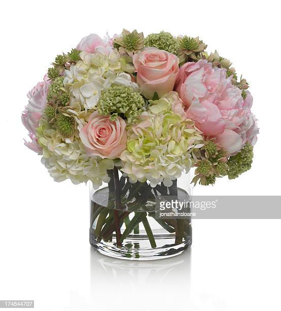 Peony, Hydrangea and Rose bouquet on a white background