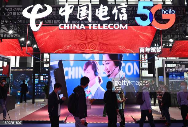 Peope visit the booth of China Telecom during China International Big Data Industry Expo at Guiyang International Conference and Exhibition Center on...