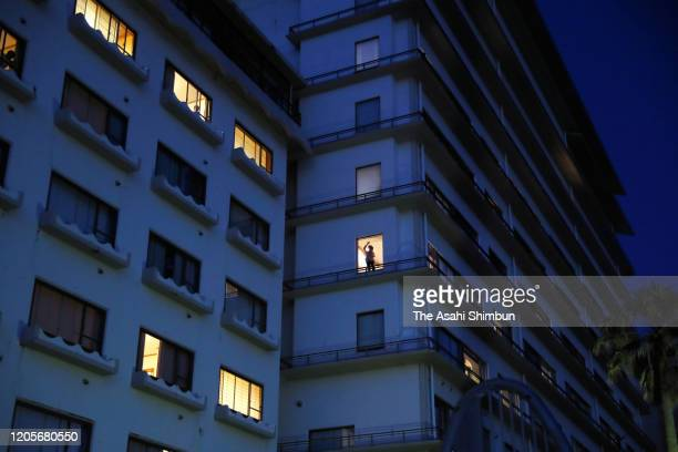 Peopl repatriated from Wuhan and stay at a hotel ar seen on February 11, 2020 in Katsuura, Chiba, Japan.