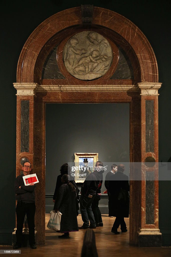 People admire an exhibition of paintings by Edouard Manet in the Royal Academy of Arts on January 22, 2013 in London, England. The painting features in the Royal Academy's new exhibition 'Manet: Portraying Life' which displays over 50 paintings spanning his career. The exhibition open to the general public on January 26, 2013 and runs until April 14, 2013.