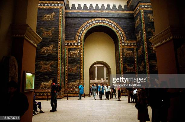 People admire the Ishtar Gate at the Pergamon Museum in Berlin Berlin the Nineties