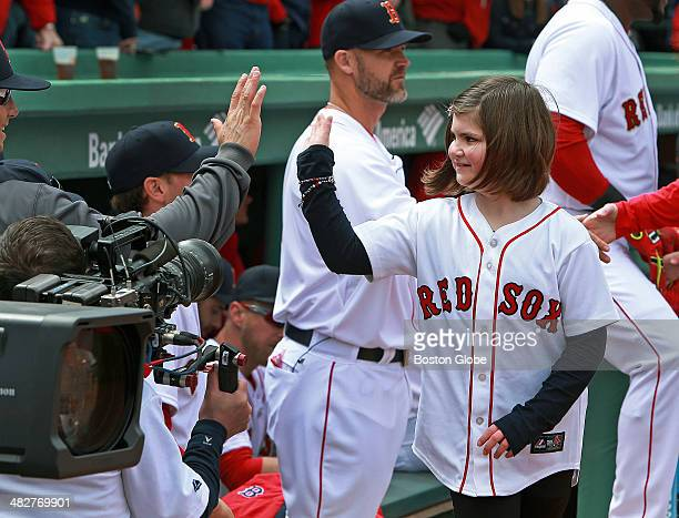 People affected by the Boston Marathon bombing last year were honored during the pregame ceremony on opening day including Jane Richard who lost a...