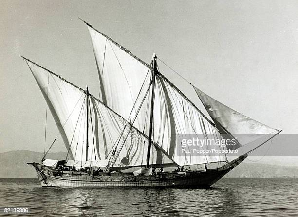 circa 1930 A seagoing Arab dhow Egypt
