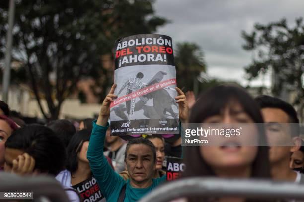 People against the bullfight protest the 2018 season in the Plaza de Bolívar Bogotá Colombia on 21 January 2018