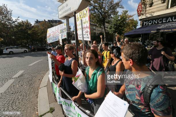 People against the use of pesticides gather on September 12 in Paris for the inclusion of the prohibition of glyphosate in the law in France The...