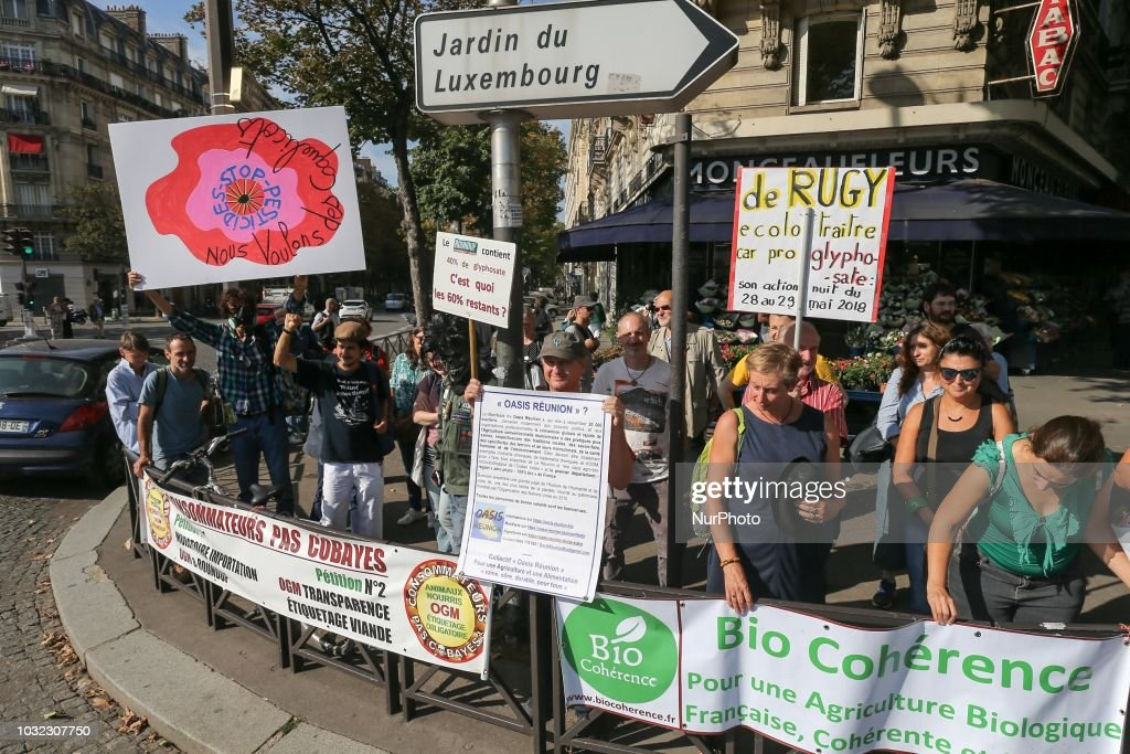 People against the use of pesticides gather on September 12, 2018, in Paris for the inclusion of the prohibition of glyphosate in the law in France. The French parliaments lower house, the National Assembly, has rejected moves to impose a deadline for phasing out the controversial chemical, which has been linked to cancer.