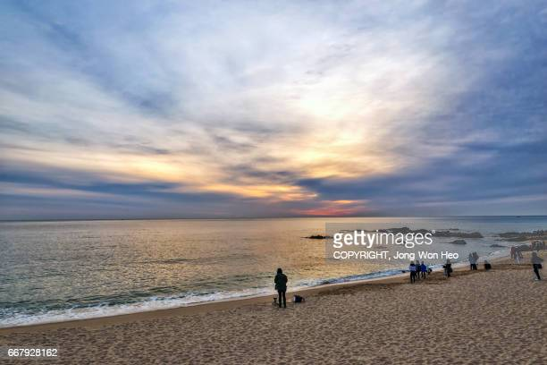 people and a lady photographer by the seashore - gangwon province stock pictures, royalty-free photos & images