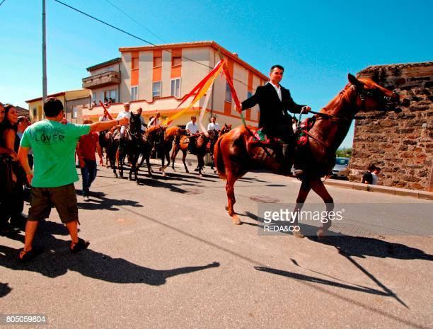People and horsemen Ardia horseraceSediloSardiniaItaly
