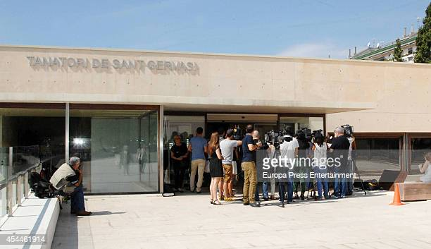 People and journalist attend the funeral for the Spanish designer Manuel Pertegaz on August 31 2014 in Barcelona Spain
