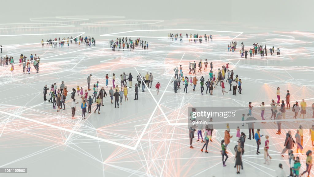People and modern technology connection : Foto stock
