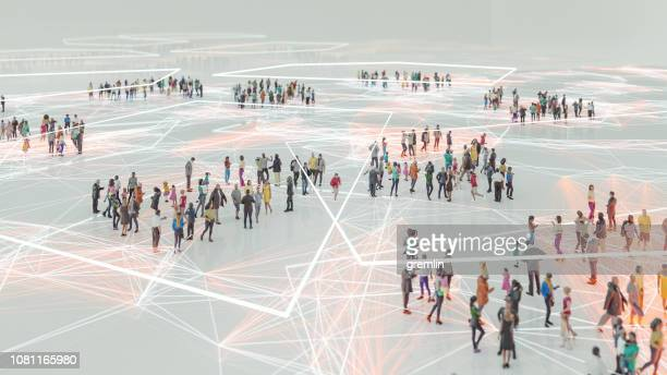 people and modern technology connection - crowd of people stock pictures, royalty-free photos & images